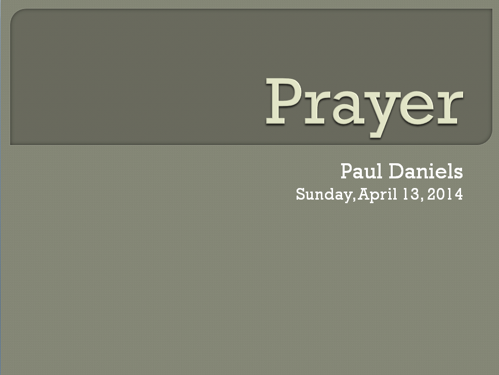 Prayer - Week 1